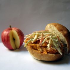 This is a delicious lunch for your Sunday football festivities. Make savory, pulled chicken sandwiches with an apple slaw. There is no mayo in this dish!