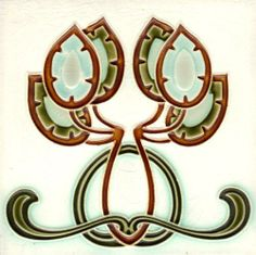 I'm starting to see Owls in everything!!!!! ~~~~German Art Nouveau Tile