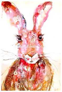 Pink Hare Embellished A3 by sarahweymanart on Etsy
