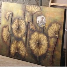 HUGE Hand Painted Oil On Canvas - Lily Pad Flowers
