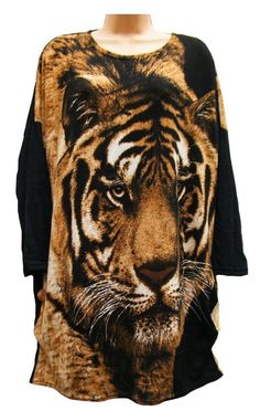 WOMENS BROWN ANMOL TIGER PRINT TUNIC/DRESS T-SHIRT FRONT & REAR DESIGN FREESIZE