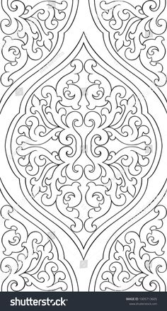 Abstract pattern with damask. Black and white templa… Abstract pattern with damask. Black and white template for wallpaper, textile, shawl, carpet. Glass Painting Patterns, Stencil Patterns, Stencil Designs, Embroidery Patterns, Motif Art Deco, Pewter Art, Islamic Art Pattern, Whole Cloth Quilts, Foil Art