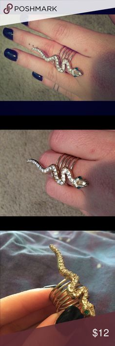 Snake Ring Gold and jeweled snake ring from Guess. Size 7 Guess Jewelry Rings