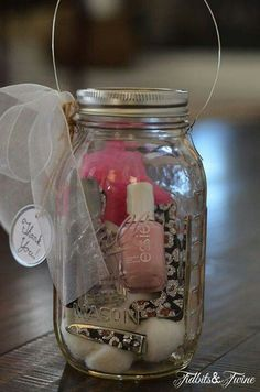 Fill a jar full of their favourite things.  Bridesmaids gift for the dinner??
