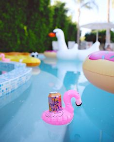 bachelorette weekend brought to us by a fridge full of La Croix and this adorable flamingo floaty. And a donut float a giant swan two pool pizza slices AND the stunningly designed Not bummed y'all!