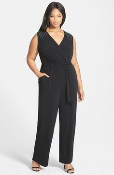 Calvin Klein Embellished Matte Jersey Jumpsuit (Plus Size) available at #Nordstrom