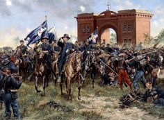 """""""Cemetery Hill"""" General Hancock rallies retreating Union troops on Cemetery Hill, July 1st , 1863 at Gettysburg."""