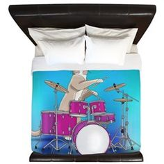 Cat Playing Drums, Blue King Duvet
