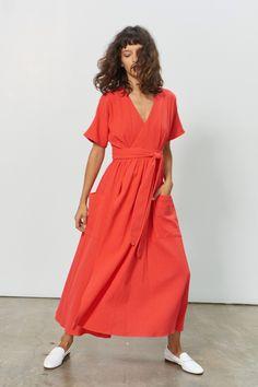 Mara Hoffman Ingrid Midi Wrap Dress Red