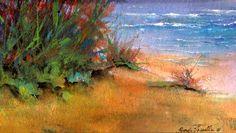 "Watercolor and acrylic: ""Summer Dunes."" mixed medium. Artist: Pamela Vosseller"