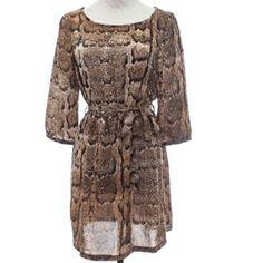 "H&M Snake Print Dress SZ.10 H&M Snakeskin Print Dress, 3/4"" Sleeves Belted Self Ties at Waist H&M Dresses"