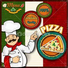 Bandeira italiana fundo do pizza menu do chef — Ilustração de Stock #25758433