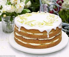A glorious lemon cake with zesty lemon cheesecake icing. From Mary Berry Cooks, this impressive citrus cake recipe is decorated with delicate candied lemon. Mary Berry Lemon Cake, Citrus Cake, Lemon Recipes, Sweet Recipes, Baking Recipes, Dessert Recipes, Dessert Blog, Sweet Desserts, Great British Bake Off