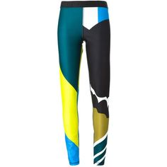 Kenzo Colour Block Leggings (455 CAD) ❤ liked on Polyvore featuring pants, leggings, green, colorful pants, multi colored leggings, stretch leggings, highwaisted pants and color block leggings