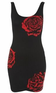 A black dress with red rose print