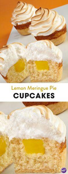 Lemon Meringue Pie Cupcakes Recipe - Get the tangy flavor of lemon in these lemon meringue pie cupcakes! Recipe makes about two dozen cupcakes.