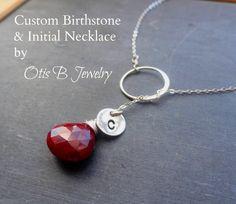 Personalized Birthstone Necklace Silver eternity by BriguysGirls, $35.00