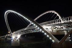 Mayfly Bridge (Tiszavirág-híd), Szolnok over the Tisza River, Hungary. Mayfly, Bridge Design, Heart Of Europe, City Landscape, Central Europe, Sydney Harbour Bridge, Albania, Homeland, Traveling By Yourself
