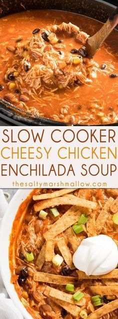 SLOW COOKER CHICKEN ENCHILADA SOUP – The best ever enchilada soup that is creamy, cheesy, packed full of tender chicken and amazing flavor! This chicken enchilada soup is easy to make in your slow cooker for a cozy fall or winter dinner! Slow Cooker Huhn, Crock Pot Slow Cooker, Crock Pot Cooking, Slow Cooker Chicken, Slow Cooker Recipes, Cooking Recipes, Cooking Courses, Fall Crockpot Recipes, Fall Soup Recipes