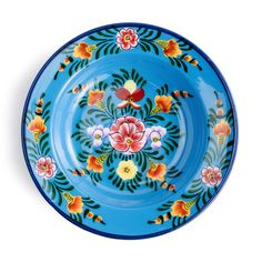 Enameled Floral Soup Plate