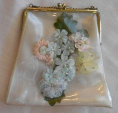 Vintage vinyl purse with millinery flowers