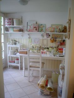 Pretty Cottage Craft Room Shelves