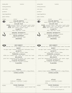 Wine Tasting Note Forms from De Long