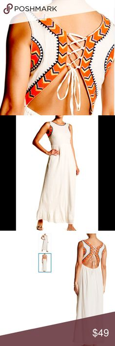 """NEW Sleaveless Embroidered Maxi Dress Crew neck     - Sleeveless     - Back lace-up closure     - Lightly elasticized waist at back     - Cutout back     - Embroidered details     - Approx. 56"""" length (size S)     - Imported Fiber Content     Shell: 100% cotton     Lining: 100% polyester Care     Hand wash      Model's stats for sizing:     - Height: 5'9""""     - Bust: 32""""     - Waist: 23""""     - Hips: 35""""     Model is wearing size S. Romeo & Juliet Couture Dresses Maxi"""