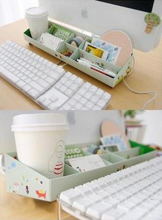 DIY Paper Stationery Desk Organizer Storage Box Long (would have to go next to my computer, I have a laptop)