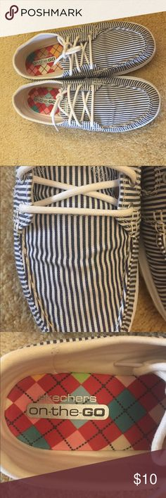 Blue and White Striped Shoes Hardly worn Sketchers shoes! Have a similar look to Sperry's. Shoes