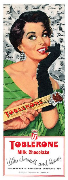 Fifties fashion + Toblerone chocolate, yes, please! #vintage #1950s #gloves #food #ads
