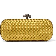 Bottega Veneta The Knot watersnake-trimmed intrecciato satin clutch (24.615 ARS) ❤ liked on Polyvore featuring bags, handbags, clutches, yellow, bottega veneta clutches, brown purse, woven purse, satin clutches and bottega veneta handbags