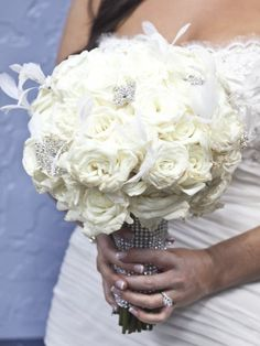 white eskimo rose bouquet with white eyelash feathers and bouquet BLING