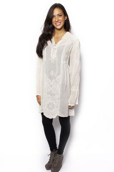 Lace Up Long Tunic - Johnny Was Clothing