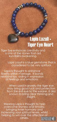 MANTRA: I am brave and bold. - 8mm Natural Lapis Lazuli Round Gemstones - 8mm Natural Tiger Eye Round Gemstones - 20mm Natural Tiger Eye Heart Shaped Gemstone Charm - Tibetan Silver Rondelles - Commer