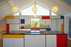 Midcentury modern, Mondrian-inspired kitchen by Hunter and Co.