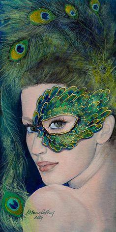 Lady Peacock Print By Dorina  Costras