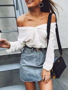 #summer #outfits / white shirt + denim skirt