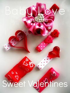 Valentines Day Ribbon Sculpture Hair Clippies set of  6. $9.00, via Etsy.