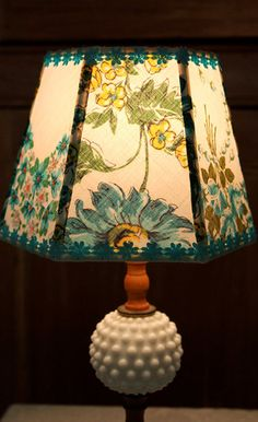 Turquoise Vintage Hankie Lamp Shade
