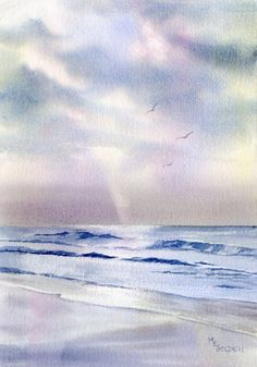 The clouds part and a ray of pure white light touches the early morning sea.  This giclee image is printed on Arches Hotpress watercolor paper with archival inks. The print is backed with matboard and enclosed in a clearbag.