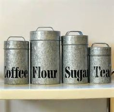 Vintage Galvanized Metal Kitchen Canisters Vandor 4 Piece