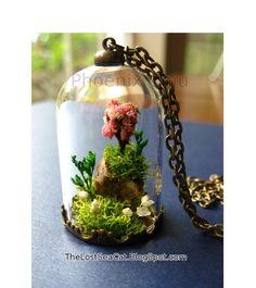 Pendentif de Cherry Blossom Rock terrarium bijoux arbre collier mousse véritable bijoux portable plante collier Pierre de terrarium Miniature de Crystal