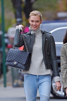 52abbfe5cf81da Karlie Kloss Chanel Maxi Classic Flap Bag Chanel Maxi, Chanel Nyc, Chanel  Handbags,