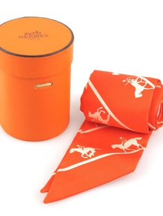 Hermes Twilly Orange Duc Carriage Horse Silk Scarf with Original Box | Socialite Auctions