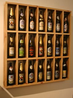 Perfect for a basement bar @Liz Donahue Pint Beer Bottle Display by SchArchWorks on Etsy