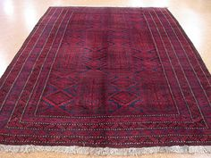 8 x 12 BALOUCH Tribal Hand Knotted Wool TRADITIONAL RED BLUE Oriental Rug Carpet #BalouchTribalGeometric
