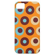 Cool Orange Blue Brown Circles Polka Dots Pattern iPhone 5 Cases