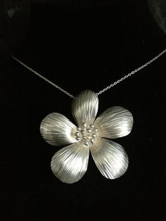 Silver Flower Necklace by Cara Black by Imagination Also on Face Book as Imagination by Cara