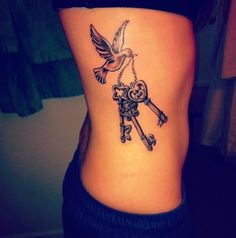 Rib Key Bird Tattoo for Women